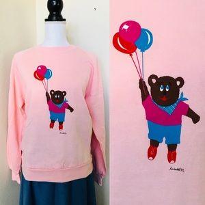 🎈Vintage 80s Pink Teddy Bear Sweatshirt Adult M🎈